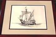 Gordon Grant Original Art Signed Ink Drawing 1935 Columbusand039s Ship