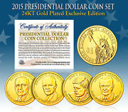 2015 Mint 24k Gold Usa Presidential 1 Dollar 4 Coin Set Completed