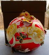 Jay Strongwater Floral Scroll Artisan Siam Red 6 Butterfly Ball Ornament Nib