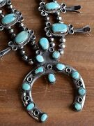 Vintage Southwest Sterling Silver And Turquoise Squash Blossom Necklace