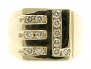 Menand039s Genuine Diamond Ring In 14 Kt Yellow Gold