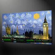 Houses Of Parliament Van Gogh Style Canvas Wall Art Print Picture Ready To Hang