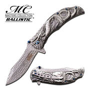 8.25 Silver Dragon Spring Assisted Folding Knife Blade Pocket Open Switch