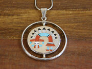 Vintage Zuni Sterling Silver Inlay Spinner By Fred And Lolita Natachu