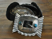 Vintage Southwest Sterling Silver And Bisbee Turquoise Concho Belt