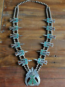 Vintage Navajo Sterling Turquoise And Coral Chip Inlay Peyote Bird Squash Blossom