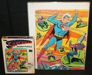 Superman 150pc Complete Jigsaw Puzzle By Whitman Vf 1966