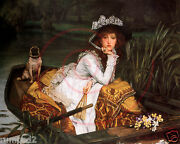 Lady In The Boat/pug English Art Print/victorian/reproduction/vintage Painting
