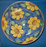 """12.5"""" Handpainted Blue Yellow Sunflowers Pasta Serving Low Bowl Dish Portugal"""