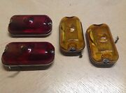 Wow Set 4 Clearance Lamp Catseye A-7875 Travel Trailer Amber Red Glass Nos