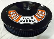 Black Air Cleaner Washable Blue Filter 440 Mopar Plymouth 4 Bbl Carb New 14