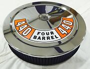 Chrome Air Cleaner Washable Blue Filter 440 Mopar Plymouth 4 Bbl Carb New