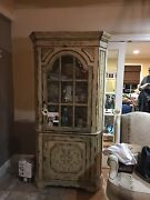 Antique Style Cream Colored Wood Corner Hutch With Glass Pane Cabinet