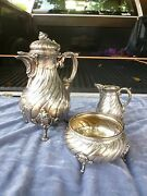 Incredible W Lameyer 800 Silver Tea Set With Sea Shell Topped Lid 44.58 Troy Oz