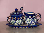 Genuine Hand Made Polish Pottery Cream And Sugar 4 PC Set! Lace Peacock Pattern!