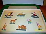 Vintage Manoil Barclay Lot Of 8 Lead Figures American Buffalo Set In Box
