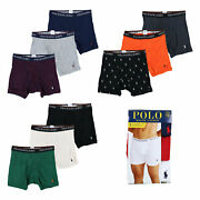 Polo Mens Underwear 3 Pack Boxer Briefs Classic Fit Pony Logo