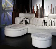 Round 36 X 18 High Ottoman Only Top Grain Soft White Leather Hand Crafted