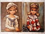 Lot Of 2 Big Eyed Girls Pierette And Sailor Girl By Eden - Canvas Style Lithograph