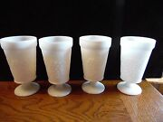 4 Vintage Milk Glass Grapes, Leaves And Vines Footed Goblets Tumblers