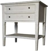 28 Set Of Two Side Table Night Stand Solid Mahogany Wood White Finish 2 Drawer