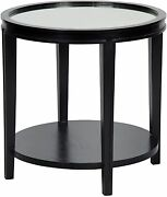 26 Round Set Of Two Side End Table Solid Black Mahogany Wood Antique Mirror Top