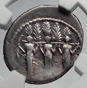 Roman Republic 43bc Larentia Hero Woman Of Rome And Nymphs Silver Coin Ngc I60173