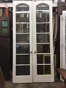 Arched French Doors Antique Vintage 1920and039s 7 Lights 98-1/2x48 Open 24ea