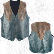 Mens Western Cowboy Style Black And Brown Leather Vest Lined Southwestern