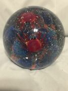 Beautiful Large Glass Ball With 2 Crabs And Coral Reef. Weight Home Nautical