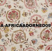 Lee Jofa Kravet Ethnic Chic Suzani Floral Linen Fabric 10 Yards Oyster Pink