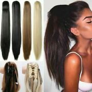 Thick Straight Pony Tail Remy Human Hair Claw/jaw Clip On Ponytail Extensions