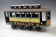 Cast Iron Trolley 14 Wagons Vintage Toy