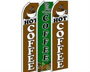 3 Pack Set Hot Coffee 2 Swooper Super Advertising Windless Banner Flag