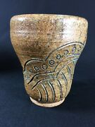Handmade Studio Pottery Art Carved Stoneware Pot Vase Decorative Cup Signed