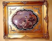 Russian Victorian Romantic Scenery Sledding Ormolu Frame Art Print 25and039and039x 21and039and039