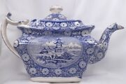 Antique Transferware Teapot Blue And White Oriental Scenes Pagoda Wood And Sons