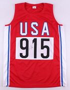 Carl Lewis Signed Team Usa Olympic Jersey Jsa Coa 9xolympic Gold Medalist