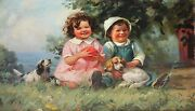 Henry Hintermeister-ny Illustrator-original Signed Oil-laughing Children And Dogs