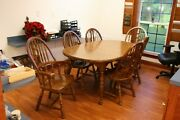 Beautiful Oak Table 6 Chairs Thanksgiving Christmas Easter Father Andlsquofamily Dinner