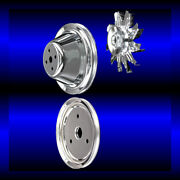 Chrome 3 Pulley Set For Small Block Chevy Short Wp Single Pulleys 283 327 350