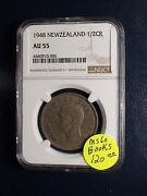 1948 New Zealand Half Crown Ngc Au55 1/2cr Coin Priced To Sell Now