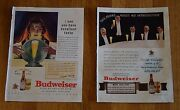 1937 And 1940 Budweiser Lager Beer Print Advertisements Vintage Magazine Ads