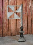 19th Century French Weathervane Finial With Flag - Zinc