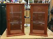 Display Case Curio/doll Woodandglass Cherry - Matching Set With Wood Framed Door