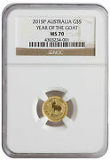 2015p - 1/20oz Gold Australia Year Of The Goat Ms70 Ngc Brown Label Bug Out Bag