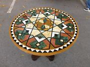 Vintage Stunning And Stylish Pietra Dura Inlaid Marble Table - P