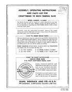 Craftsman 113.29501 12 Radial Arm Saw Manual And Parts List Instructions