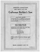 1946 Craftsman 109.22620 10 Builderand039s Saw Instructions And Parts List