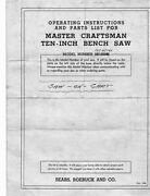 1940 Craftsman 101.02161 / 101.02162 10 Bench Saw Manual And Parts List